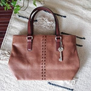 Fossil 1954 Vintage Tan Genuine Leather Handbag